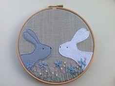 Personalised bunny rabbit nursery hoop art. Made by BoxRoomBazaar