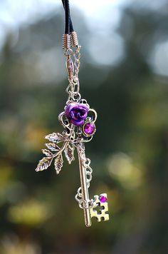 Purple Winter Rose Key Necklace $37.00