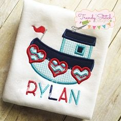 Tug Boat Hearts Applique - 4 Sizes! | What's New | Machine Embroidery Designs | SWAKembroidery.com Trendy Stitch Designs