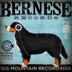 Bernese Mountain Dog Record Company original by geministudio