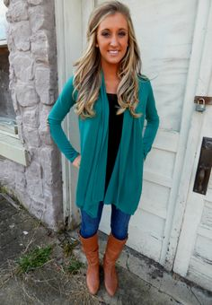 Shop the elbow patch cardigan in jade on our website!!