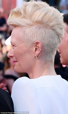 Tilda Swinson, Edgy touch: She wore a quirky gold ear-piece around one ear