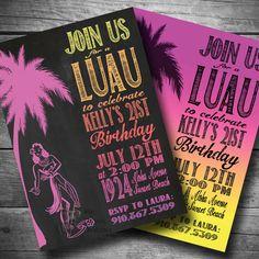 Luau Birthday Invitation Hawaiian Themed Party by BigDawgDesigns, $12.00