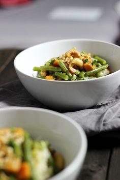 Grüne Bohnen-Curry mit Süßkartoffel und Cashewkernen