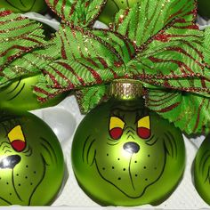 Use Pebeo glass paints to decorate Christmas Baubles. CREATIVE IDEA -Why not paint Mr. Grinch's face on them?!