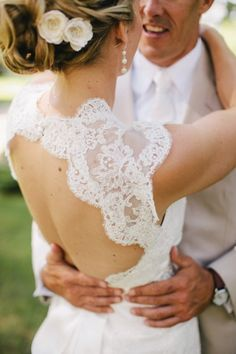 Keyhole back for wedding gown, Alencon lace with scallop edge. Have this custom made on Etsy at Rosemarydesignsbride