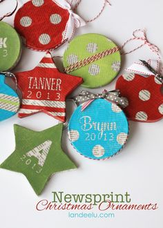 Newsprint Ornaments - Landee See Landee Do (need papier mache ornament, string, ribbon, paint, lettering/tae for masking, modge podge glue)