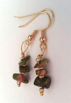 Unakite Gemstone Chip Dangling Earrings by GracefulServices, $10.00