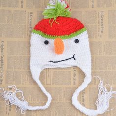 Fashion Cute Snowman Shape Crocheting Knitted Beanie For Kids #CLICK! #clothing, #shoes, #jewelry, #women, #men, #hats