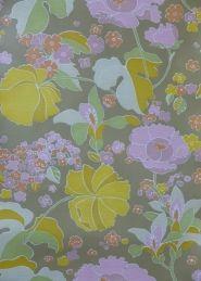 paars geel oranje bloemen behangpapier