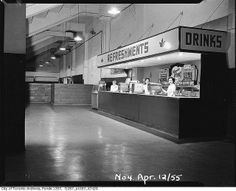 Maple Leaf Gardens refreshment stand by Toronto History Canadian History, History Of Photography, Toronto Maple Leafs, Vintage Photographs, Historical Photos, Time Travel, Ontario, How To Memorize Things, Toronto City