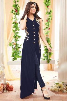 Navy Blue #PartyWear Gold Embroidered Indian #DesignerSalwarSuit