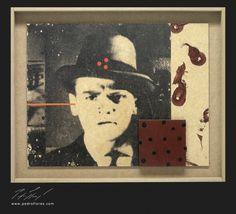 Ráfaga. Monotipo, pintura y collage sobre madera. 43x53 cm.
