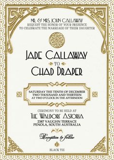 Gatsby Wedding Invitation Printable White by WestminsterPaperCo