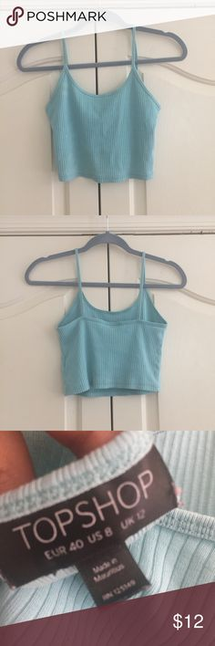 Top shop (Paris) crop top! Bonjour or bonsoir!  I bought this top shop crop top in Paris France at Galeries Lafayette. It was €14 💕 enjoy! It is a size US 8. It is slightly faded but is in good condition! Topshop Tops Crop Tops