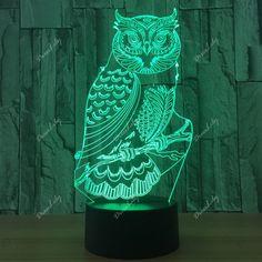 Owl Shape 7 Colors Change 3D Touch Night Light - TRANSPARENT