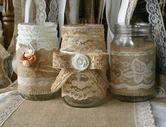 ViNTAGE LACE on Burlap wedding JARs,  Bride and Groom centerpiece, rustic farm house, shabby chic, country wedding. $37.00, via Etsy.