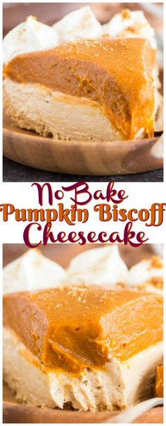 With a shortbread cookie crust, loads of pumpkin and spice, and a layer of creamy Biscoff cheesecake, this Double Layer Biscoff Pumpkin Cheesecake is a holiday must! Brownie Desserts, Oreo Dessert, Mini Desserts, Coconut Dessert, Pumpkin Dessert, Delicious Desserts, Dessert Recipes, Fall Desserts, Biscoff Cheesecake