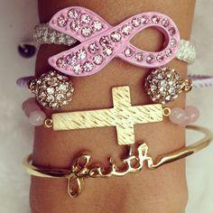 Love yhe pink breast cancer ribbon bracelet!