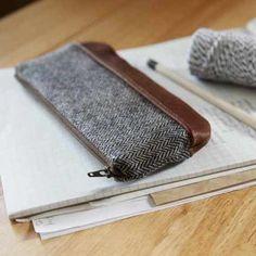 leather and herringbone pencil case