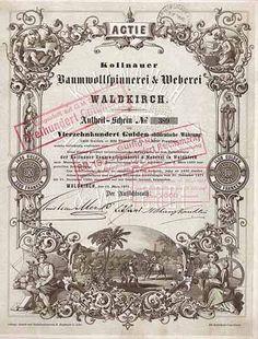 Kollnauer Baumwollspinnerei & Weberei Actie 1.400 Gulden 15.3.1870. Gründeraktie (Auflage 700, R 11).