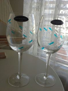 Cynthia Rowley school of fish wine glass goblet set of 2 blue #cynthiarowley