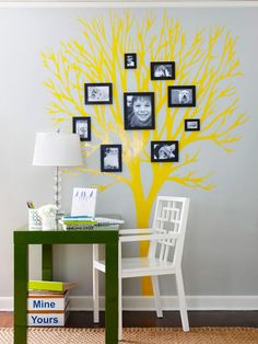 How fun! Hang family photos on the branches of a tree silhouette to make a creative family tree! http://www.bhg.com/decorating/do-it-yourself/accents/easy-weekend-decorating-projects/?socsrc=bhgpin060313familytree=22