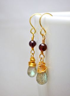 Labradorite and garnet wirewrapped dangle by birchandfinch on Etsy, £25.50
