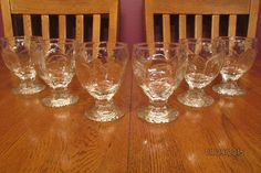 Set Of Six Clear Glass Libbey Chivalry On The Rocks Cocktail Glasses ~ Excellent