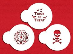 Trick or Treat! Create creepy cupcakes for your Halloween party with this spider web, skull and bones, and Trick or Treat that fit in a circle so they fit well in a round or ornament cutter. Cookie stencils made from durable, 10 mil food-grade plastic. Crown Stencil, Heart Stencil, Elephant Cookies, Unicorn Cookies, Crown Cookies, Royal Icing Cookies, Cupcake Crafts, Halloween Stencils, Thing 1