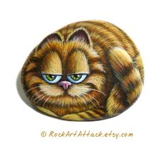 The Garfield Cartoon Cat Hand Painted Pebble Magnet by RockArtAttack!