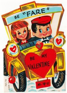 Vintage Greeting Card Valentine Couple Automobile Car