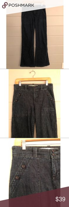 Anthropologie Wide Leg Jeans Amazing Sailor style! Brand is Daughters if the Liberation. Maybe worn once?! Waist: 15; inseam: 32; rise: 10. I may have had these hemmed, but i can't remember. See photo & measurements. 🚫🚫🚫PayPal or Trades. Price is FIRM unless bundled. Bundles are automatically discounted through Posh! Anthropologie Jeans Flare & Wide Leg