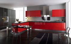Cocina en color Rojo, Negro y Gris.