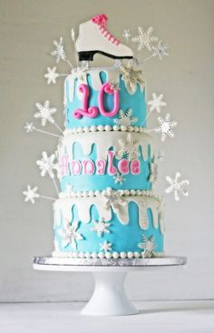 This beautiful cake has snow and snowflakes and ice blue and pretty pink. With an Ice Skate topper and silver touches here and there. Ice Skating Cake, Ice Skating Party, Skate Party, Winter Wonderland Ice Skating, Winter Wonderland Cake, Frozen Birthday Party, Birthday Cake Girls, 10th Birthday, Birthday Cakes