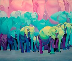 LESSON 1: Objective- Learn about Pattern, Scale, and Color Theory. Use a repeating reference to create a composition. Paint according to a chosen color scheme (split complementary) Example: elephants upon elephants