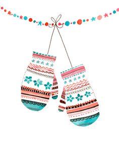 Рождество Рождественская Открытка Варежки