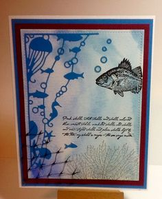Watercolor wash background, Memory Box Oceana Corner die and Stampin Up By the a Tide stamps