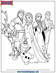 Disneys Frozen Characters Coloring Page