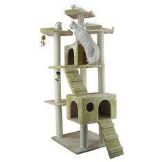 """$139.45-$175.00 Cat Tree, Beige - Model No.: A7401; Covering Material: Faux Fur; Covering Color: Beige; Board Material: Plywood; Post Diameter: 3-1/2-inch; Overall Dimensions: 50-inch (L)X26-inch (W)X74""""(H); Max Holding Weight: 60 lbs; http://www.amazon.com/dp/B003BYQ18M/?tag=pin2pet-20"""