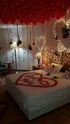16 These Passionate Valentine Bedroom Decor are Everything You Can Dream Of - Valentine's day is approaching your front door before you know it. For whoever is in love, these Valentine bedroom decor ideas are great for you to fo. Wedding Night Room Decorations, Romantic Room Decoration, Romantic Bedroom Decor, Decoration Bedroom, Valentines Day Decorations, Bedroom Ideas, Bedroom Colour Ideas For Couples, Birthday Room Decorations, Shabby Bedroom