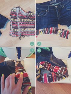 Diy pattern up your denim shorts great idea crafty crafts одежда, мода свои Diy Shorts, Diy Jeans, Sewing Shorts, Diy Clothes Videos, Clothes Crafts, Sewing Clothes, Diy Clothes Refashion, Diy Vetement, Denim Crafts