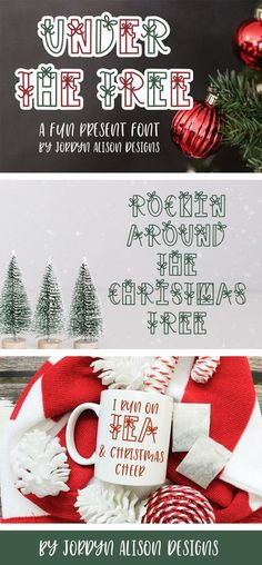Under the Tree is a fun Christmas Present Font for crafters and makers. Use this font with your Cricut or Silhouette machines to make gift tags, personalized decor, apparel, totes, and more. #christmasfont #cricutfont #fontforcrafters #handletteredfont #winterfont *affiliate link: your purchase price stays the same, but if you decide to purchase I get a small percentage of the cost. Christmas Fonts, Christmas Messages, Christmas Wreaths, Cool Fonts, New Fonts, Winter Fonts, Font Digital, Holiday Crafts, Holiday Decor
