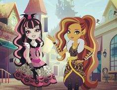 Draculaura & Clawdeen Wolf at Ever After High | Monster High Fan Art by azzzaell