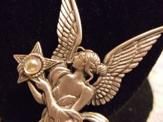 VTG. JJ JONETTE AB CAB & PEWTER ANGEL/WOMAN WITH WINGS HOLDING A STAR BROOCH~ #JJJonette #AngelWomanwithWingsHoldingaStar