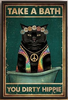Crazy Cat Lady, Crazy Cats, Hippie Posters, Black Cat Art, Cat Posters, Hippie Art, Cat Wall, Cat Drawing, Cool Cats