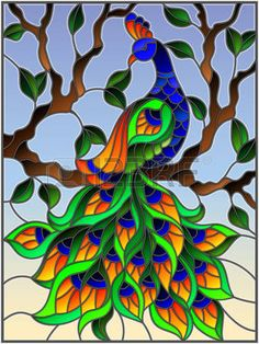 Illustration in stained glass style bird peacock and tree branches. - Illustration in stained glass style bird peacock and tree branches on background of blue sky Stock Photo Stained Glass Paint, Stained Glass Birds, Stained Glass Designs, Stained Glass Patterns, Glass Painting Patterns, Glass Painting Designs, Paint Designs, Tree Branch Art, Tree Branches