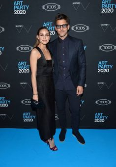 (L-R) Olivia Palermo and Johannes Huebl attend the 2020 Whitney Art Party at The Whitney Museum of American Art on January 2020 in New York City. (Photo by Noam Galai/Getty Images) New York January, January 28, Stock Pictures, Stock Photos, Purple Sandals, Milan Men's Fashion Week, Olivia Palermo Style, Whitney Museum, Art Party