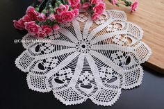 Handmade crochet beige doily Measurement: Diameter - 35 cm / 13.75 ------------------------------------------ This doily was made in a pet-free and smoke-free environment. Ready to ship. This doily is a perfect addition to your table, room decor, or can be a really nice gift.