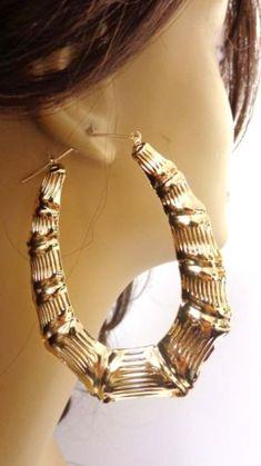 24117d0d1 Details about LARGE HOOP EARRINGS BAMBOO GOLD OR SILVER TONE 3.25 INCH L  2.5 W OVAL HOOPS